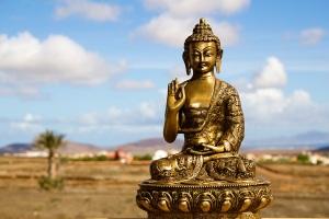 Buddha, rural landscape, sky