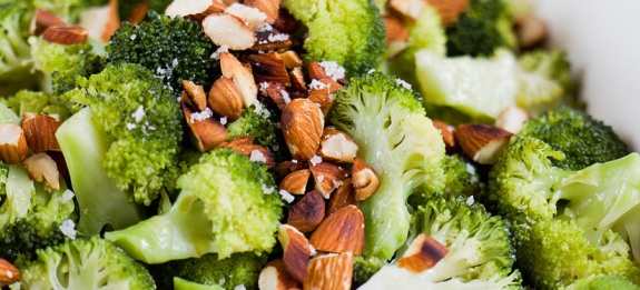 Broccoli with toasted almonds and sea salt