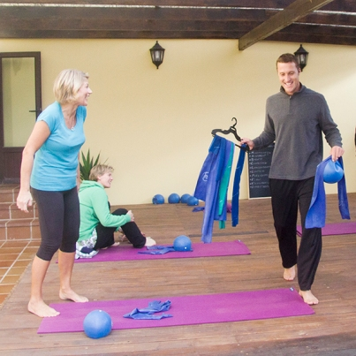 Pilates bands and balls class