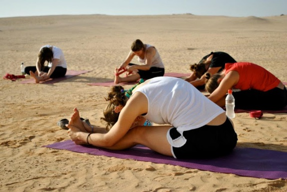 Morning yoga in the dunes with Emma, 2011