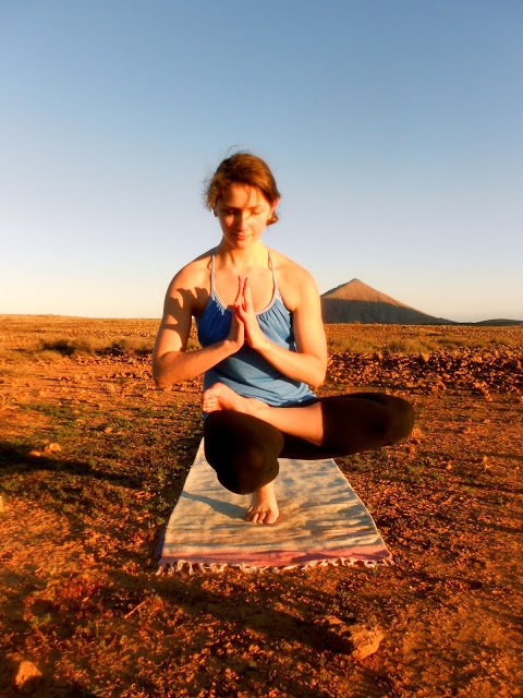 Padangushthasana, taken in the volcanic fields in Villaverde, Fuerteventura.